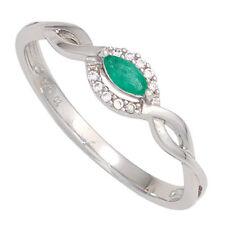 Echte Diamanten-Ringe aus Weißgold mit Smaragd
