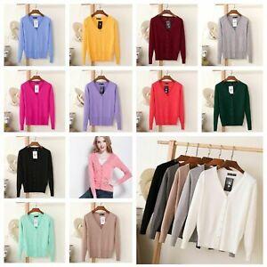 Laydies Women Cardigan Long Sleeve Ladies Knitted Top Outwear Size 8 10 12 14 16