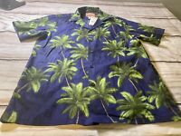 NEW with Tags RJC Aloha Hawaiian Shirt Size Large Blue Green Palm Trees Coconuts