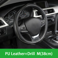"Car Crystal Steering Wheel Cover Pu Leather Black Bling Bling 15"" Universal"