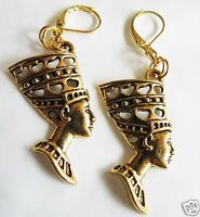 EGYPTIAN STYLE NEFERTITI  GOLD TONE LARGE HANDMADE EARRINGS FOR PIERCED EARS
