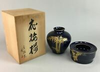 Japanese Ceramic Flower Vase Ashtray Set Wooden Box Bamboo Vtg Pottery PX95