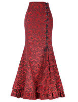 New Women's Vintage Gothic Victorian Fishtail Skirt Steampunk Long Mermaid Dress