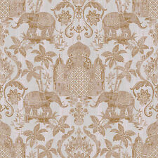 G67358 - Indo Chic Elephant Taj Mahal Copper Grey Galerie Wallpaper