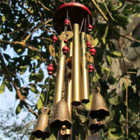 Hanging Wooden Wind Chime Traditional Home Window Garden Decor Metal Tube 65 Cm