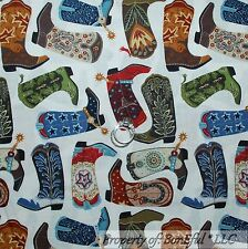 BonEful Fabric FQ Cotton Quilt Red White Blue Leather Cowboy Boots Cowgirl Star