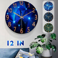 12inch Clock Wall Fashion Glass Quartz Clock Home Living Quiet Silent Simple
