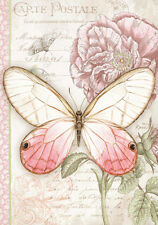 Blush Butterfly Garden Flowers Botanical French Provincial Painting Canvas Print