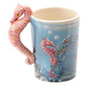 Ceramic Seahorse Marine Novelty Mugs Set Birthday Xmas Wedding Unusual Gift