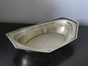 SILVER PLATED BASKET/ DISH ANTIQUE CIRCA 1880, ENGLISH SIMPLE GADROON STYLE