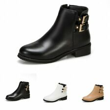 New Women Chelsea Round Toe Comfort Round Toe Buckle Zipper Ankle Boots 44/48 D