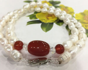 Natural 7-8mm White Akoya Freshwater Rice Pearl & Red Agate Necklace 18''