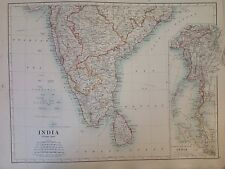 China And Japan or India (Southern) Antique Map 1891 Large, Atlas