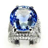 Tanzanite Violet BluE Ring Size 5.5 Oval 26.80 Ct. 925 Sterling Silver Jewelry