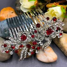 beautiful elegant wedding bridal red rhinestone hair comb and crystal 1409