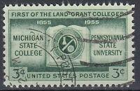 USA Briefmarke gestempelt 3c Michigan State College 1855-1955 Rundstempel /1208