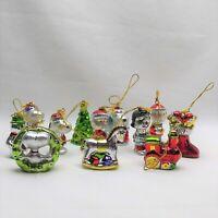 "12 KURT ADLER ""Peanuts Mini Glass Christmas Ornaments"" SET Charlie Brown Snoopy"