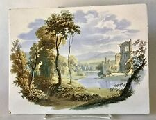 Ca 1826 Enoch Wood Burslem Staffordshire Polychrome Transfer Plaque Landscape