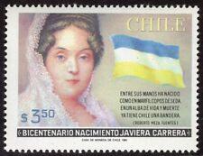 CHILE 1981 STAMP # 1001 MNH JAVIERA CARRERA FLAG