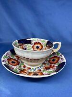 Vintage Antique Fine Bone China Tea Cup And Saucer Set Blue Flower Floral Print