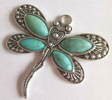 2 Boho Chic Large Silver Tone Dragonfly/Butterfly & Turquoise Detail Pendants