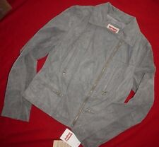 Levis Womens Suede Leather Motorcycle Biker Jacket Coat Grey M New MSRP $250