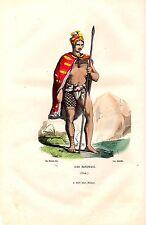 GRAVURE COLORIEE  A LA MAIN VERS 1850 VOYAGE DE COOK ILES SANWICH  HOMME