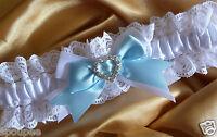 WEDDING BRIDE BRIDAL GARTER SOMETHING BLUE SATIN WHITE LACE SATIN HEART CRYSTAL