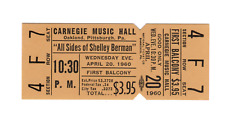Shelley Berman - Apr 20, 1960 - UNUSED ticket - Pittsburgh, PA (MINT)