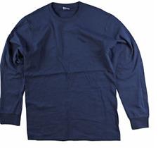 Men's Big & Tall Unbranded Cotton  Long Sleeve Crew Neck Tee Shirt 5X Navy