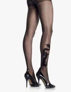 BNWT Elegant Moments Sheer Dragon Tattoo Tights (1731) Black One Size