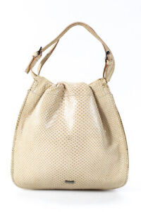Gucci Womens Snakeskin Ruched Satchel Beige Extra Small Handbag
