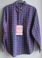 New  Shirt by designer Marinus in purple and blue check  100% cotton  16 year