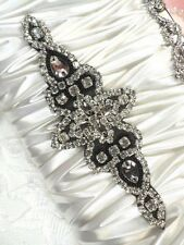 "Black Silver Beaded Crystal Rhinestone Applique Black Backing Iron-On 6"" (JB47)"