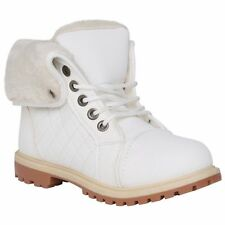 WOMENS WINTER ANKLE BOOTS LADIES ARMY COMBAT FLAT GRIP SOLE FUR LINED SHOES NEW