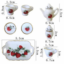 8 PCS Dollhouse Miniature Tea Set Ceramic Porcelain Dish/Cup/Plate Strawberry