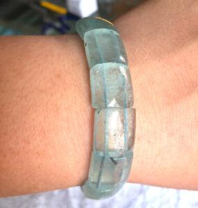 "Huge Natural blue aquamarine gemstone transparent Bangle 8.5"" weight 40.70g"