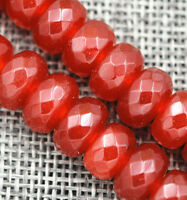 "New 6x10mm Faceted Red Ruby Roundel Loose Beads Gemstone 15"" AAA"