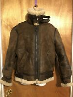 VTG MENS SZ 38 B-3 FLIGHT ORCHARD MOTORCYCLE WINTER COAT SHEARLING LEATHER BROWN