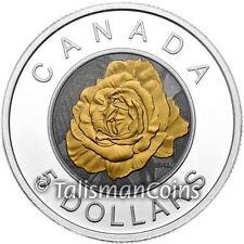 Canada 2014 Niobium Flowers #2 Rose Blossom $5 Silver & Niobium BiMetallic Proof