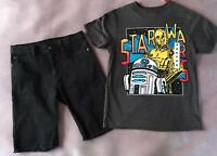 Crazy 8 a Gymboree co Boys Star Wars Tee Size 7-8 Black Denim shorts size 8