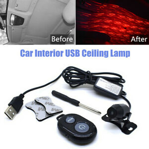 Universal Starry Sky Car Interior USB Ceiling Lamp Decor Atmosphere Light Remote