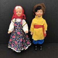 "Vintage 12"" Russian Mockobckar Plastic Dolls Man & Woman W/Tags Handmade"