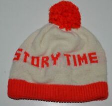 """Nice Vintage White & Red Child's """"Story Time"""" Beanie Winter Snow Hat Cap Rare"""