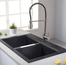 Country Kitchen Sink Black Onyx Granite Double Bowl Farmhouse Modern House Decor