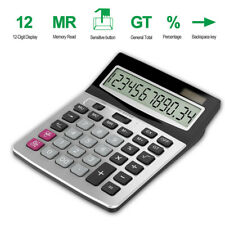 Desktop Calculator Basic Office Business Home Standard Solar Big Display 12Digit