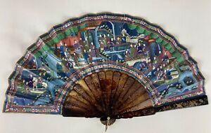 RARE 19TH C.CENTURY CHINESE QUALITY FAN ORIGINAL BOX