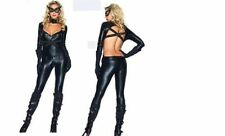 WOMENS LADIES SEXY OPEN BACK CAT SUIT COSTUME FANCY DRESS PARTY SUPERHERO HERO