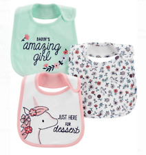 Baby Girl Bibs 3 Pack Daddy's Amazing Girl Unicorn Nwt Carters Child of Mine