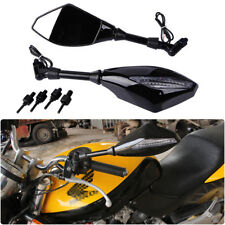 Motorcycle LED Turn Signal Side Mirrors For Honda Street Sport Bikes 8mm/10mm US